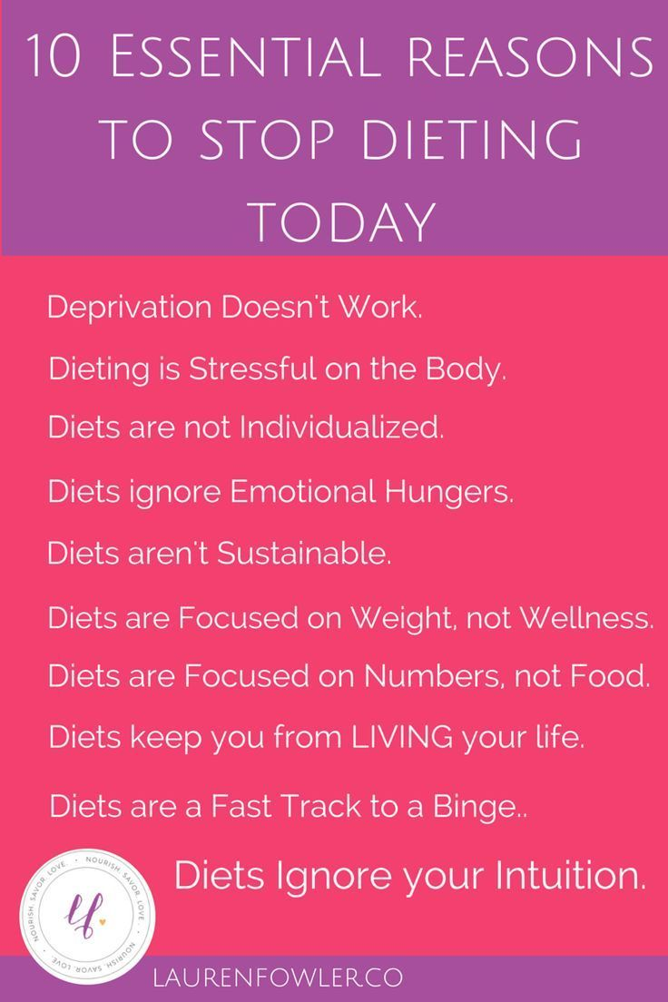10 Essential Reasons to Stop Dieting Today    Here's exactly WHY diets don't work - physically, mentally, emotionally + how to start practicing intuitive eating.