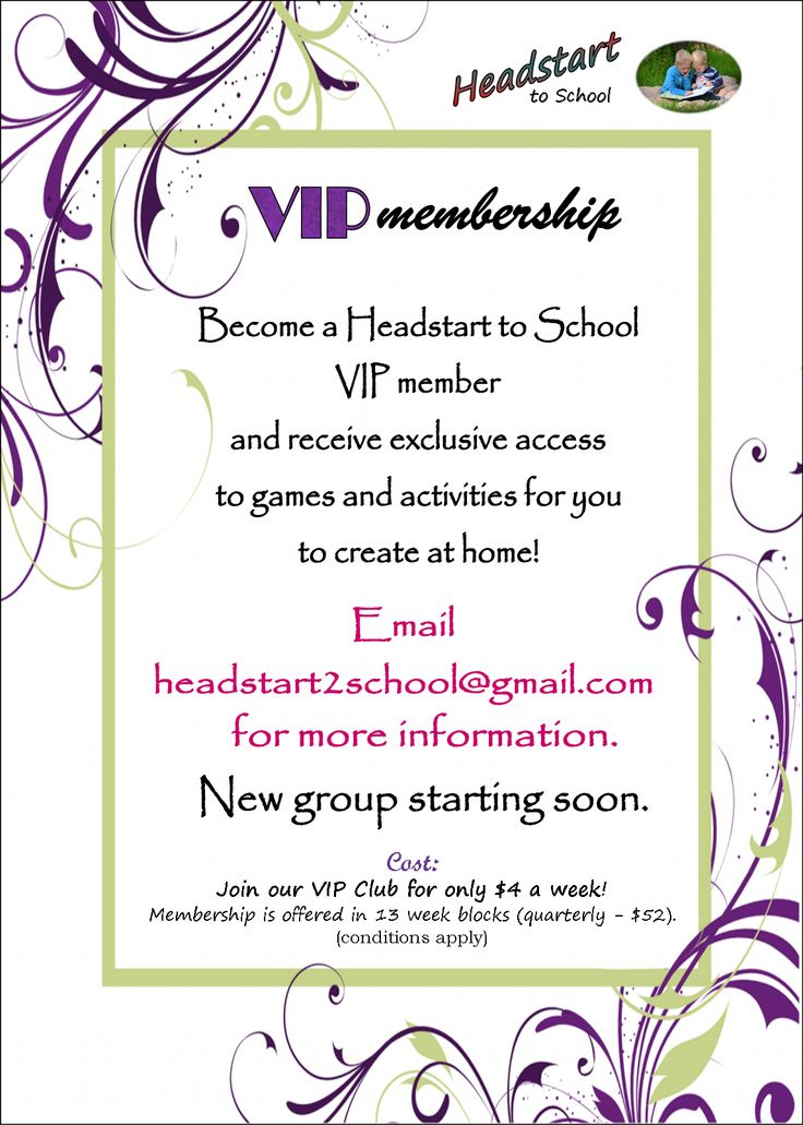 VIP Membership, enquire today, applications for our next group will be closing March 21st