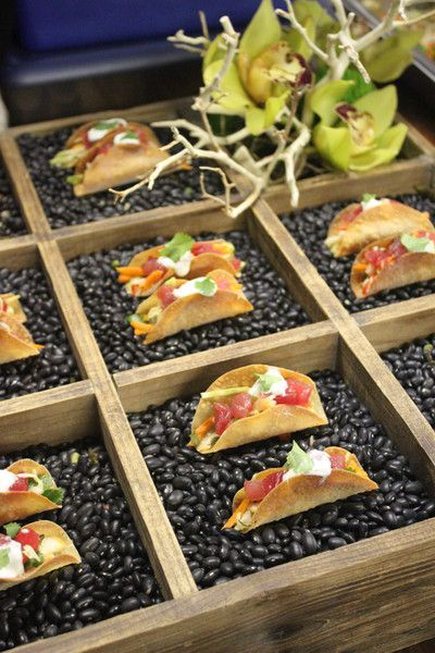 Mini Tacos served in Bean Filled Boxes I La Bonne Cuisine, Catering and Events I #fingerfood #weddingfood #appetizers