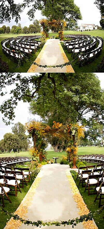 semi-circle seating & wedding isle
