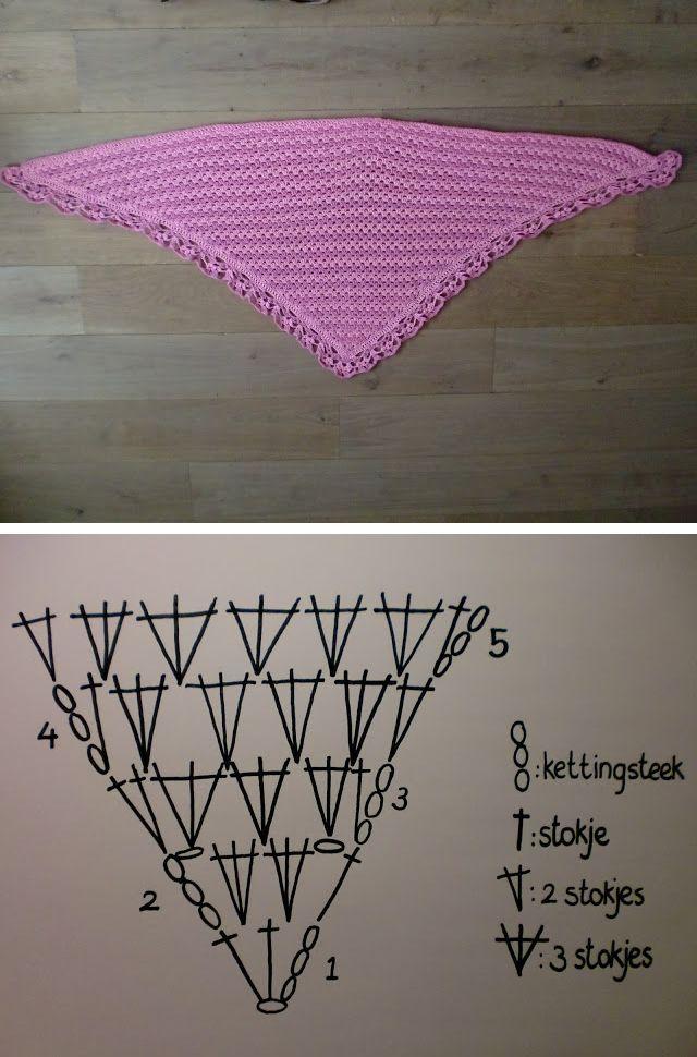 Simple granny shawl, free pattern diagram by Claire of Hakenenmeer!   . . . .   ღTrish W ~ http://www.pinterest.com/trishw/  . . . . #crochet