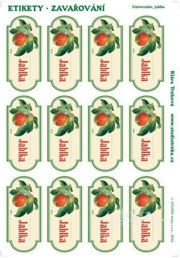 Samolepicí etikety, zavařování jablka