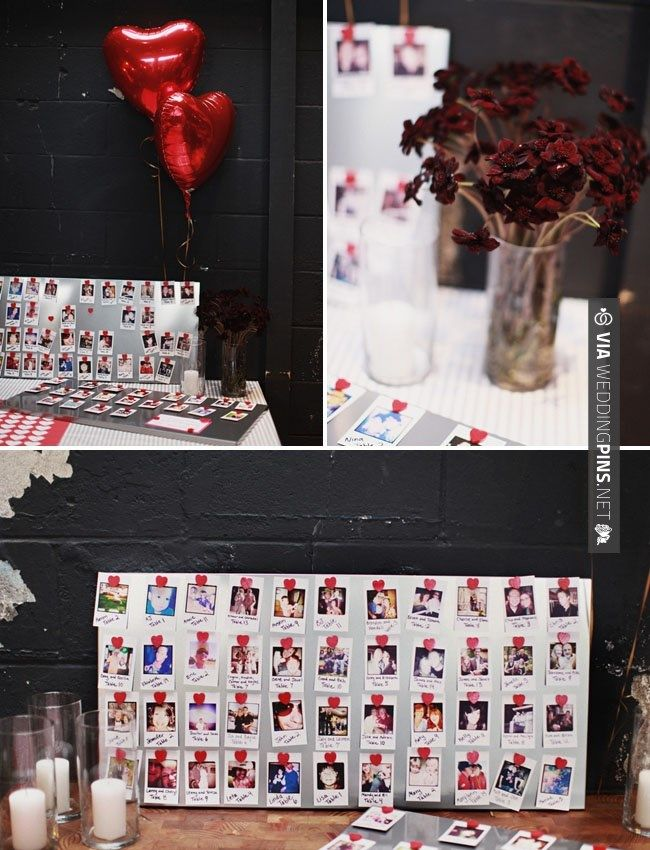 table assignments - Magnetic board with photos.