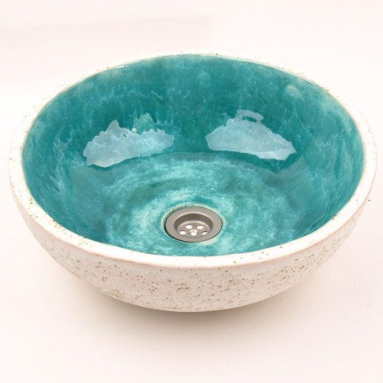 Turquoise stone sink handmade washbasin overtop door Dekornia
