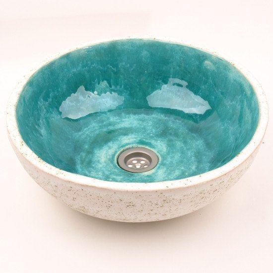 Turquoise stone sink, handmade washbasin, overtop washstand