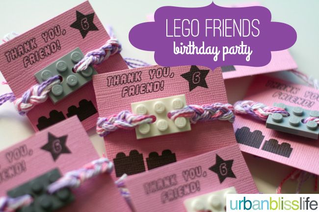 LEGO Friends Birthday Party - friendship bracelet party favors | UrbanBlissLife.com