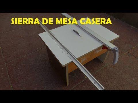 Sierra de mesa casera con guia escuadradora y guia para cortes a lo largo - YouTube