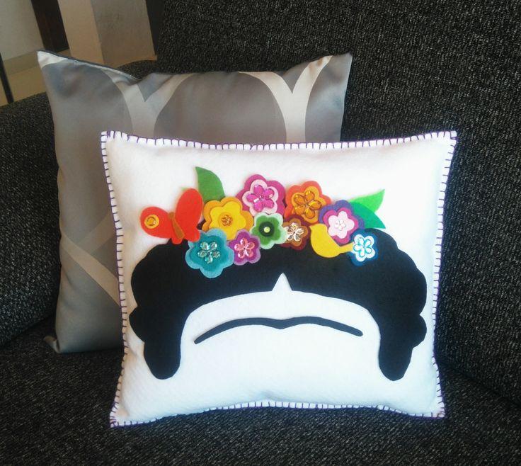 Decor Cushion Frida Kahlo Frida flower crown by MXArtsCrafts