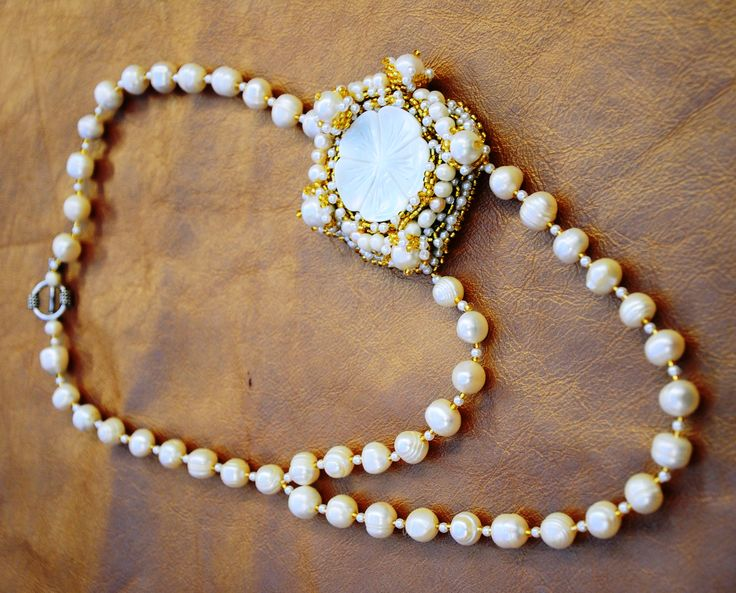 Natural Pearls and Mother of Pearl Bridal Beaded Couture Necklace