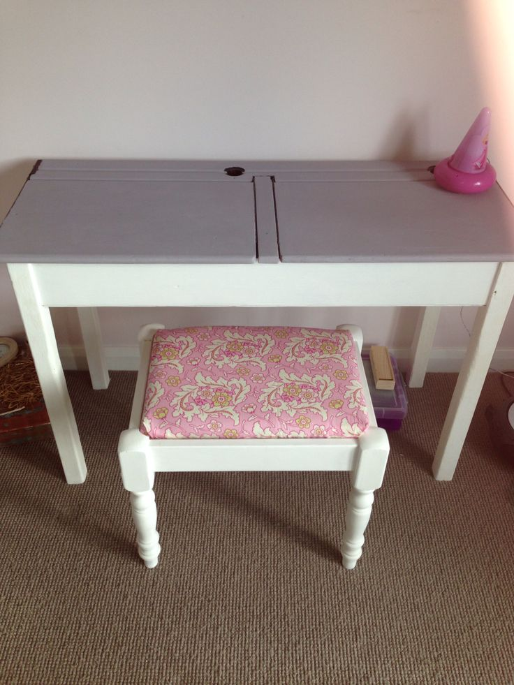 Annie's upcycled school desk & stool