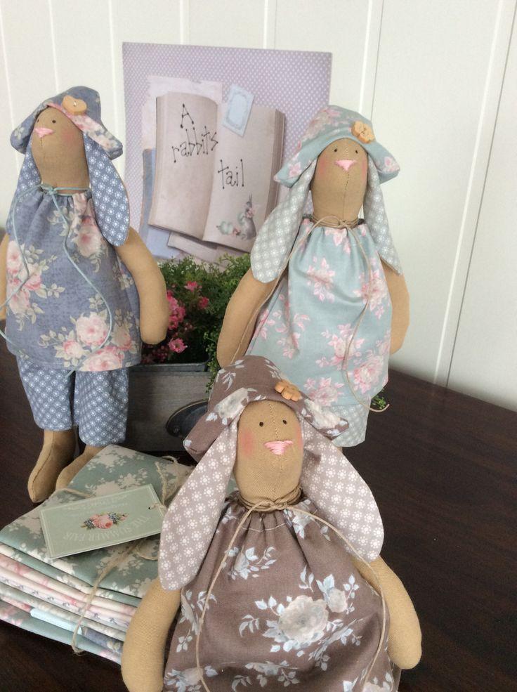 Easter bunnies in new Tilda fabric dresses