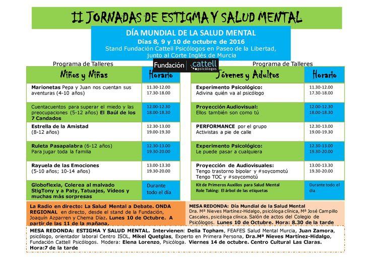 II Jornadas de Estigma y Salud Mental. Actividades programadas por la Fundación Cattell Psicólogos para celebrar el Día Mundial de la Salud Mental.