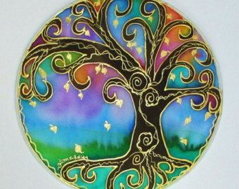 Mandala árbol de la iluminación arte mandal por HeavenOnEarthSilks