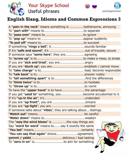English #slang, #idioms, #common #expressions, #useful #phrases, #yourskypeschool material 3