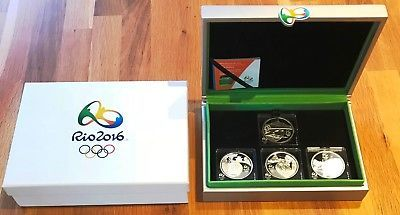 Brazil Rio Olympics Official Set with 4x 5 reais silver proof 2015 w/Box
