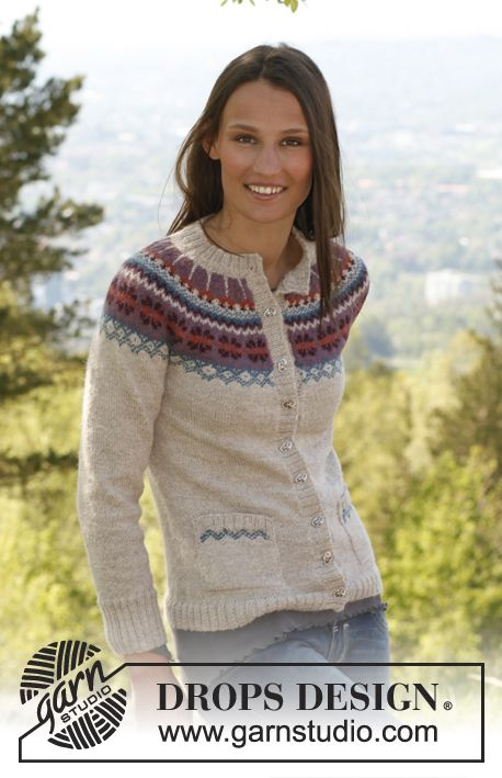 "I need this i think. Knitted DROPS jacket with round yoke, pockets and Norwegian pattern in ""Alpaca"". Size XS – XXXL ~ DROPS Design"