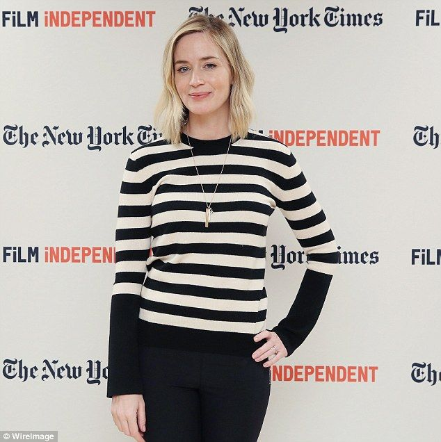Bar-none! Emily Blunt, 33, kept things quite casual for the event in a distinctive striped top  Read more: http://www.dailymail.co.uk/tvshowbiz/article-3828901/Emily-Blunt-husband-John-Krasinski-perfect-match-Good-Hunting-Live-Read-event.html#ixzz4MYUkr2bY  Follow us: @MailOnline on Twitter | DailyMail on Facebook