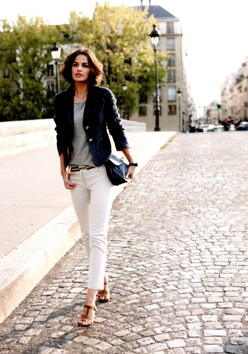 grey t-shirt, white jeans, navy jacket, tan sandals