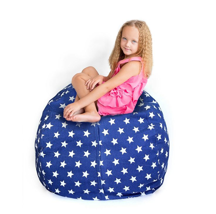 Amazing Extra Big Chair Bean Bag - Storage for Stuffed Animal/Blankets/Towels/Linens – Fill & Fun Chair for Kids Room or Bedroom – Neutral Unisex Colors