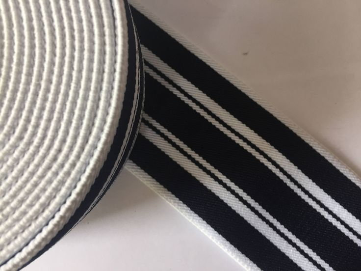 2.8 - 7 cm wide  navy and white striped  high quality elastic webbing, plush elastic, high end webbing, waistbelt webbing, designer webbing by NoaElastics on Etsy