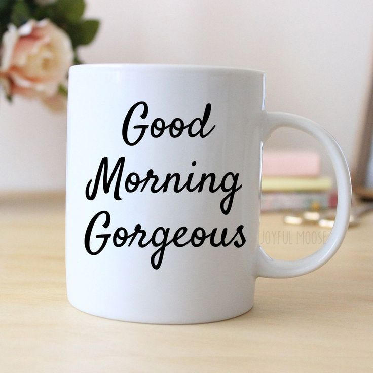 """Coffee Mug says """"Good Morning Gorgeous"""" ❤ ABOUT JOYFUL MOOSE MUGS ❤ - 11 oz Ceramic Coffee Mugs - dishwasher and microwave safe - ready for gift giving packaged safely in a foam padded white gift box"""