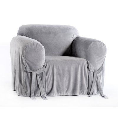 Classic Slipcovers Box Cushion Armchair Slipcover Color Silver Material Fabric Velvet Slipcovers For Chairs Velvet Slipcovers Armchair Slipcover