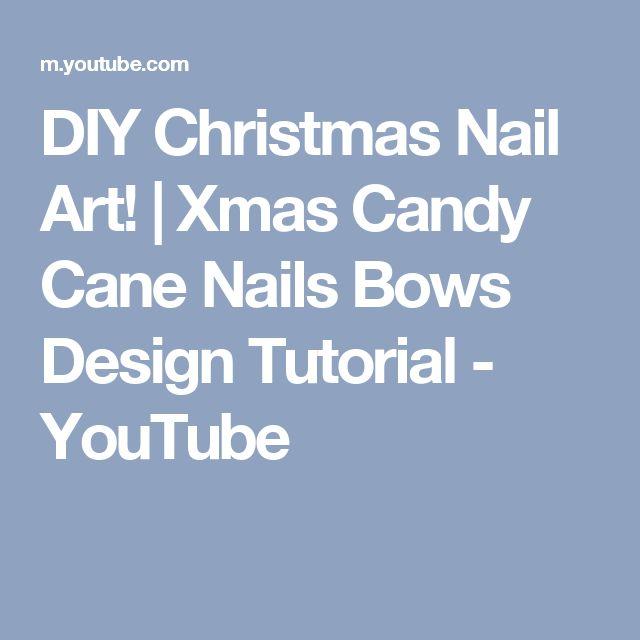 DIY Christmas Nail Art! | Xmas Candy Cane Nails Bows Design Tutorial - YouTube