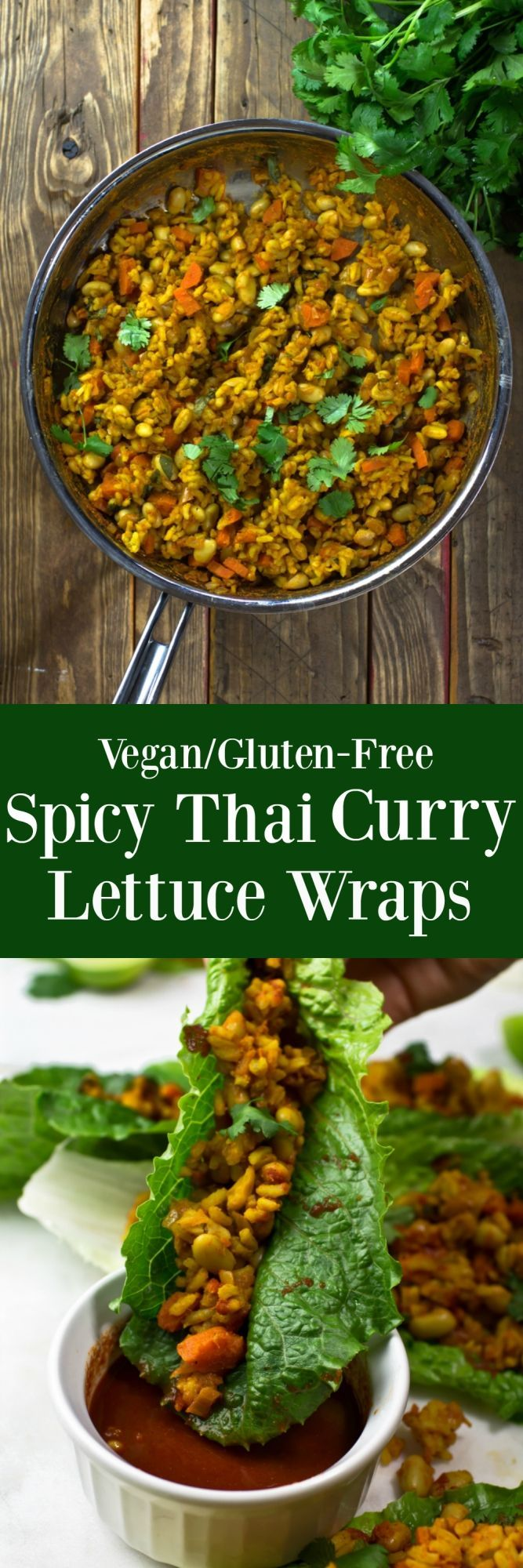 These Vegan Spicy Thai Curry Lettuce Wraps are full of bold flavors, a spicy kick and a crispy bite from fresh romaine lettuce leaves. They are accompanied with a delicious spicy and slight sweet Thai Curry Lime Sauce that is great for dipping into complete flavor explosion! via @thevegan8