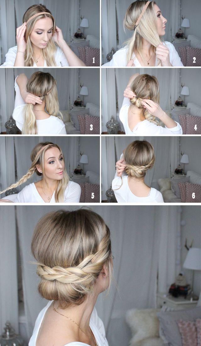 Här kommer en snabb och lätt frisyrtutorial, vårig och supersöt!  Du behöver: Hårbad och 2 hårnålar. Gör så här:  1. Fäst hårbandet över huvudet. 2. Dela upp håret på 3. Genom att plocka ut två delar
