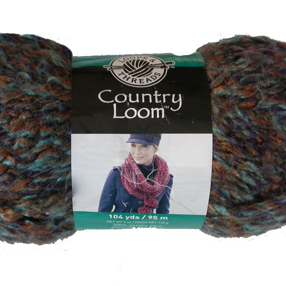 Country Loom #Yarn by #Loops and Threads Soft Bulky Yarn in Wild West, Turquoise, Rust and Brown blend, by SusanEknits, $6.00, susaneknits.etsy.com.
