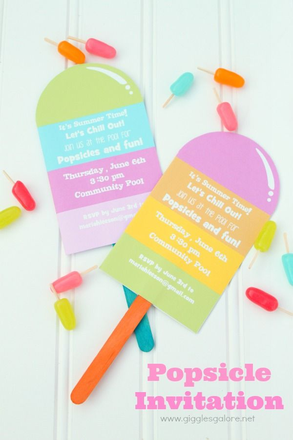 """Popsicles and Pool Party Invitation. Love the mini """"popsicles"""" made from Mike and Ikes and toothpicks."""