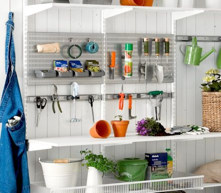 elfa garage shelving best selling solutions iii at store declutter your potting shed or garage with this neat space saving hooks hangers and