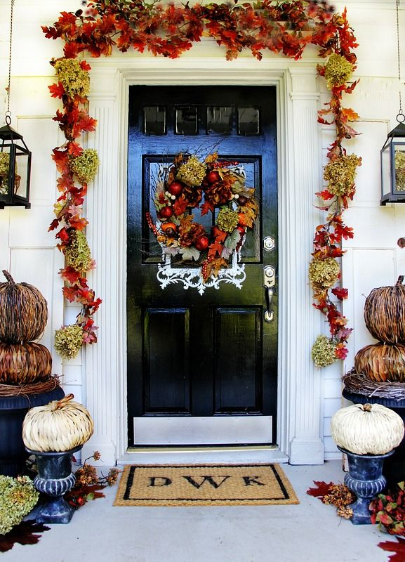 budget fall decorating ideas for the front door front doors the dollar store and hydrangeas. Black Bedroom Furniture Sets. Home Design Ideas