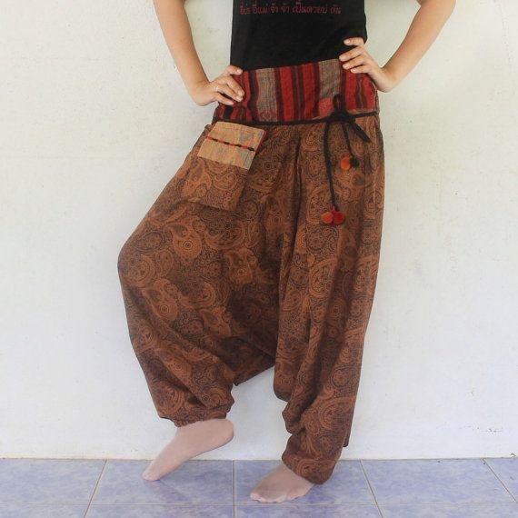 brown paisley harem pants hand weave by meatballtheory on Etsy