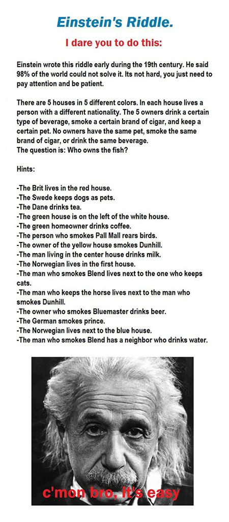 Einsteins Riddle. I CANT FIGURE IT OUT! TS DRIVING ME INSANE!<<<IVE JUST SOLVED IT HAHAHA I FEEL SO CLEVER