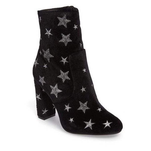 Women's Steve Madden Edit Embroidered Star Bootie ❤ liked on Polyvore featuring shoes, boots, ankle booties, black ankle booties, embroidered ankle boots, black bootie, embroidered booties and short boots