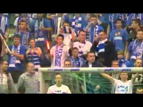 lech poznan (poland) supporters. make sure you notice the players--they look to be about, oh, 10 or 11. also, if you're not gonna watch the whole thing, fast forward to 1:50. thanks to @Anne Sharp for showing me this way back when!