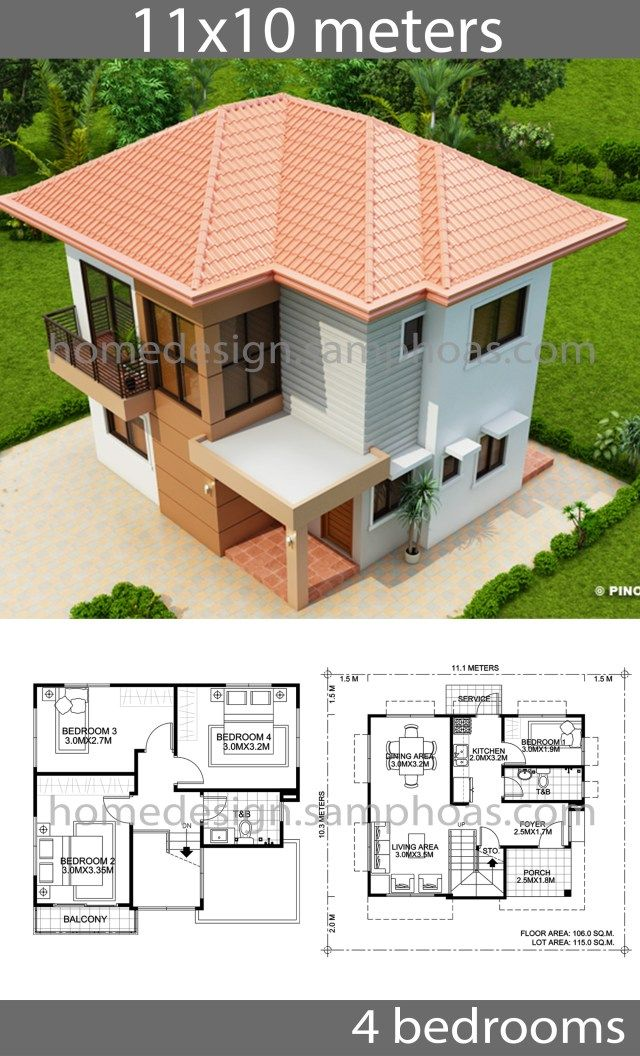 House Design Plans 10x11m With 4 Bedrooms Home Ideassearch Beautiful House Plans Model House Plan Craftsman House Plans