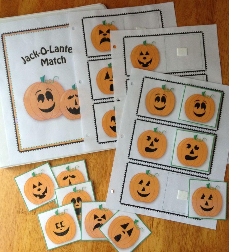 Jack-O-Lantern Matching......great Halloween visual perception activity: visual- halloween