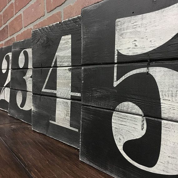 NUMBER WALL ART, Rustic house numbers, Subway numbers, Number artwork, Urban…