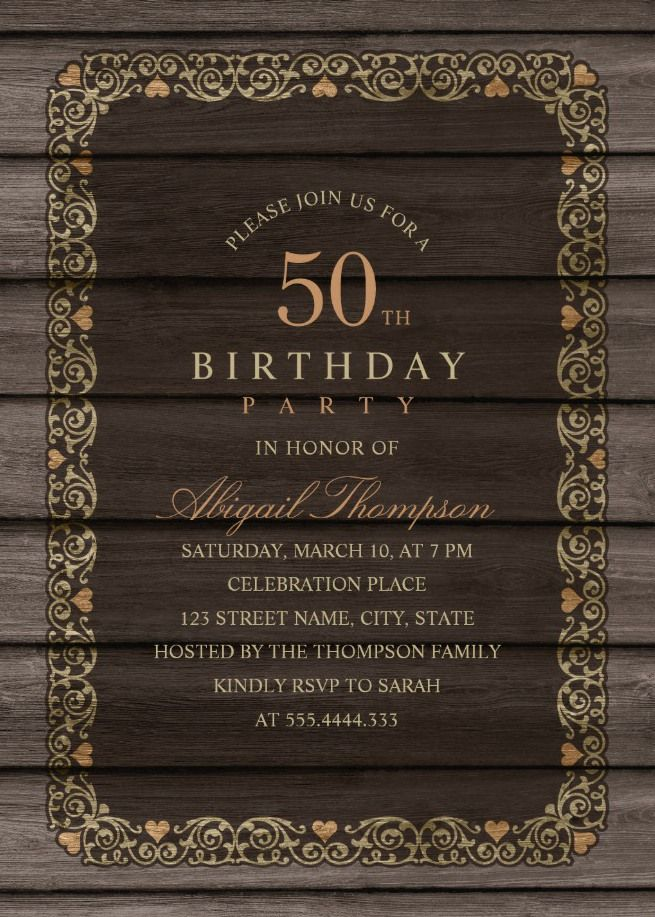 Fancy Wood 50th Birthday Invitations Rustic Country Invitation