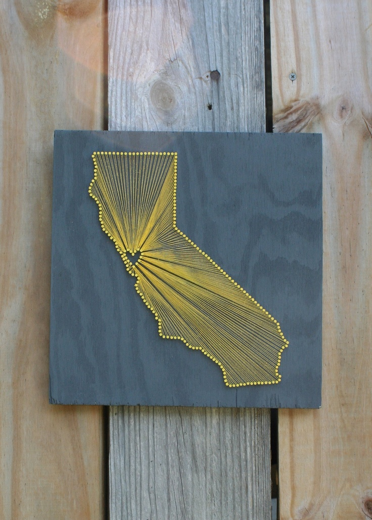 California Love Reclaimed Wood Nail And String Art