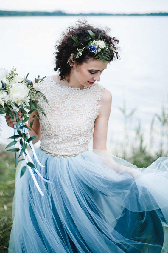 Charming Ice Blue V Backless Long Prom Dresses Boho Bridal Dresses With Appliques