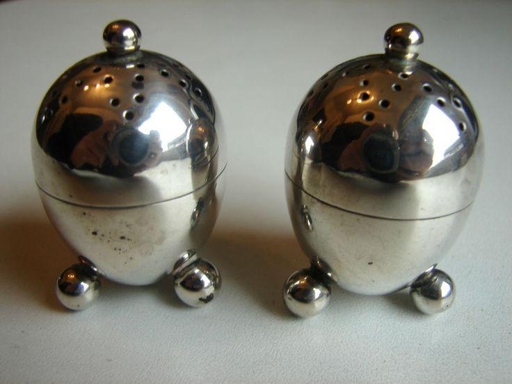 antiker Salz- und Pfefferstreuer, Eiform, 925iger Silber, Chester, England