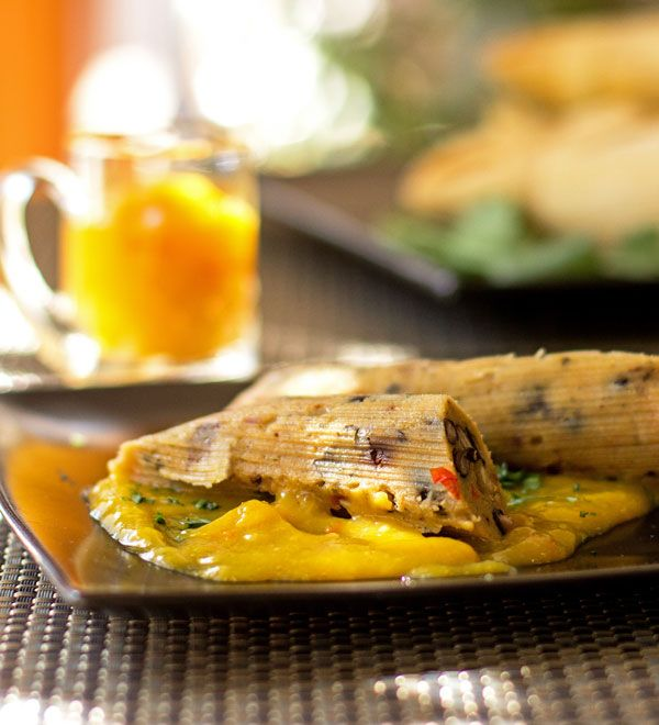 Black Bean Chipotle Tamales with spicy mango sauce
