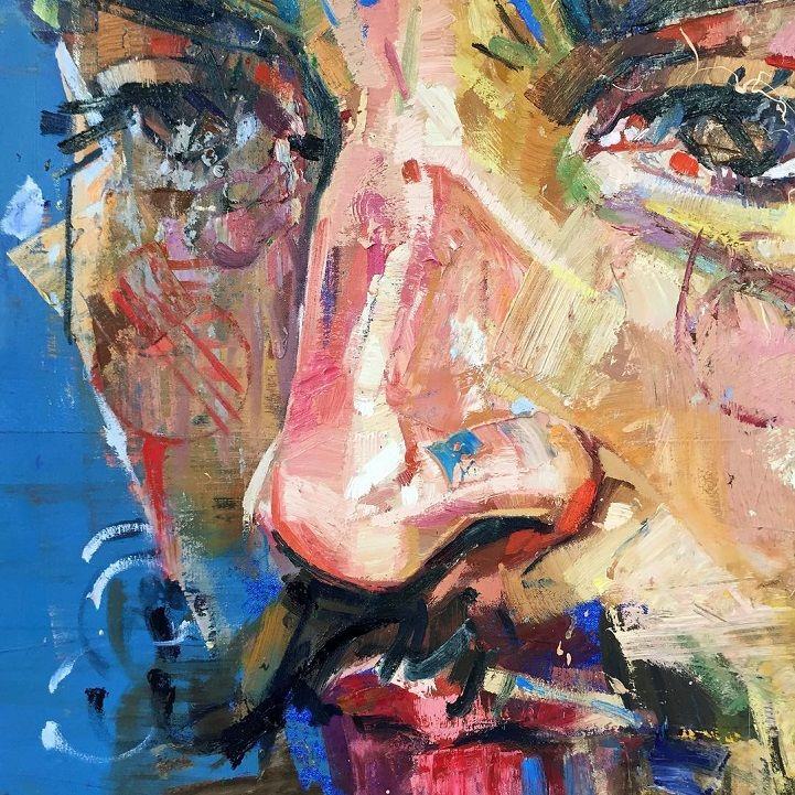 With bold brush strokes and geometric shapes, Andrew Salgado extracts order from chaos to create his emotionally charged portraits.