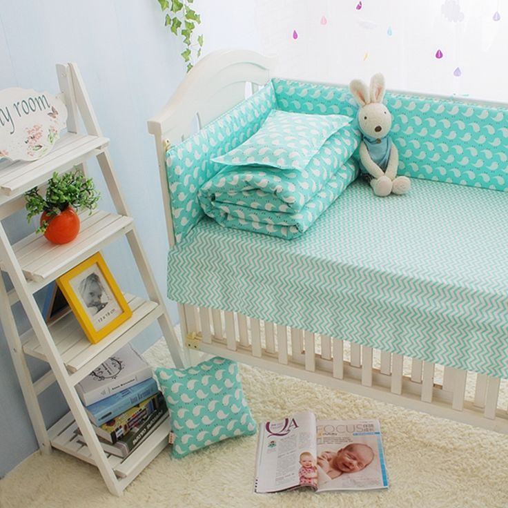 (32.39$)  Watch here  - Hot Sale Green Baby Girl Cot Crib Bedding Sets, organizer for baby bed,100%Cotton baby beddengoed set cartoon
