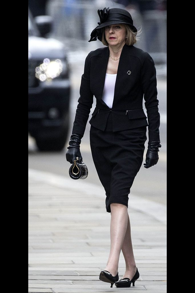 Here, Theresa May attends the funeral of Margaret Thatcher in London, in 2013.