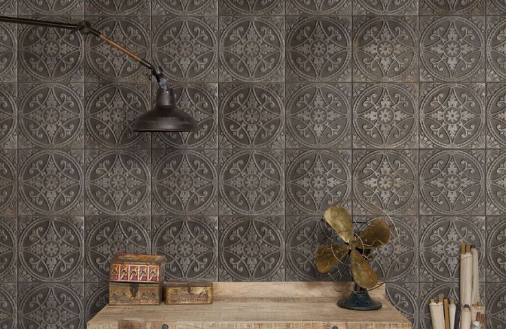 Metallic relief wall tiles supplied by Exto