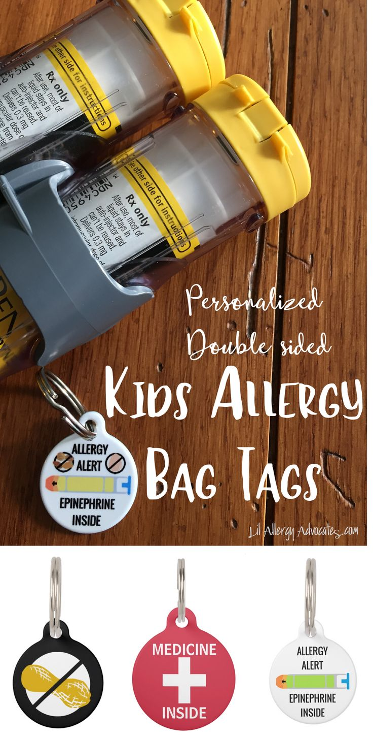 Personalized Allergy Alert tags for kids. Perfect for book bags, lunch boxes, or medicine kits. Epinephrine alerts and other medicines. www.lilallergyadvocates.comKat